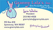 Granny Lala's Specialty Bakery business card